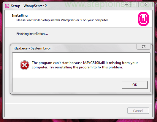 Step to Install - MSVCR100.dll is missing when WAMP server install - wamp shows error msvcr100.dll is missing when install