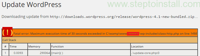 Fatal error: Maximum execution time of 30 seconds exceeded wordpress