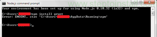 Node.js Error: ENOENT, stat 'C:\Users\UserName\AppData\Roaming\npm' on Windows